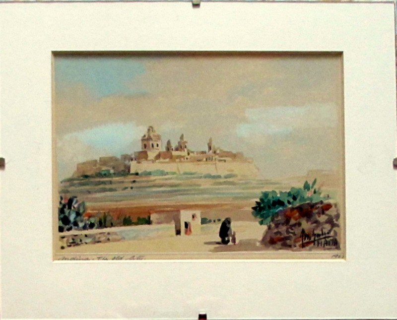 Mdina. The Old City, watercolour on card, signed Jos. Galea Malta 1965. Glazing in situ.