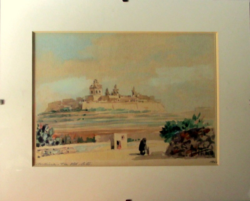 Mdina. The Old City, watercolour on card, signed Jos. Galea Malta 1965.