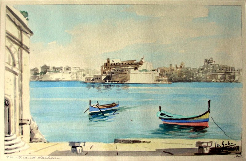 The Grand Harbour, Valletta, watercolour, signed Jos. Galea Malta 1965.