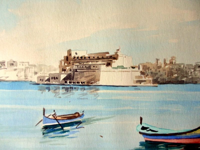 The Grand Harbour, Valletta, watercolour, signed Jos Galea Malta 1965.
