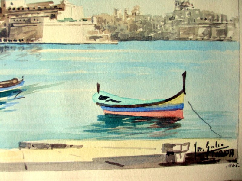 The Grand Harbour, Valletta, watercolour, signed Jos. Galea Malta 1965. Detail.
