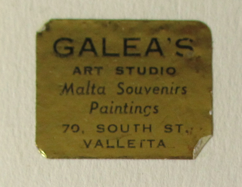 The Grand Harbour, Valletta, watercolour, signed Jos. Galea Malta 1965. Detail. Gallery label.
