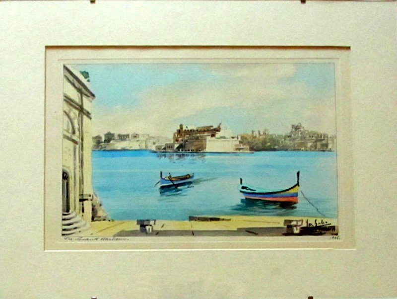 The Grand Harbour, Valletta, watercolour, signed Jos Galea Malta 1965. In situ.