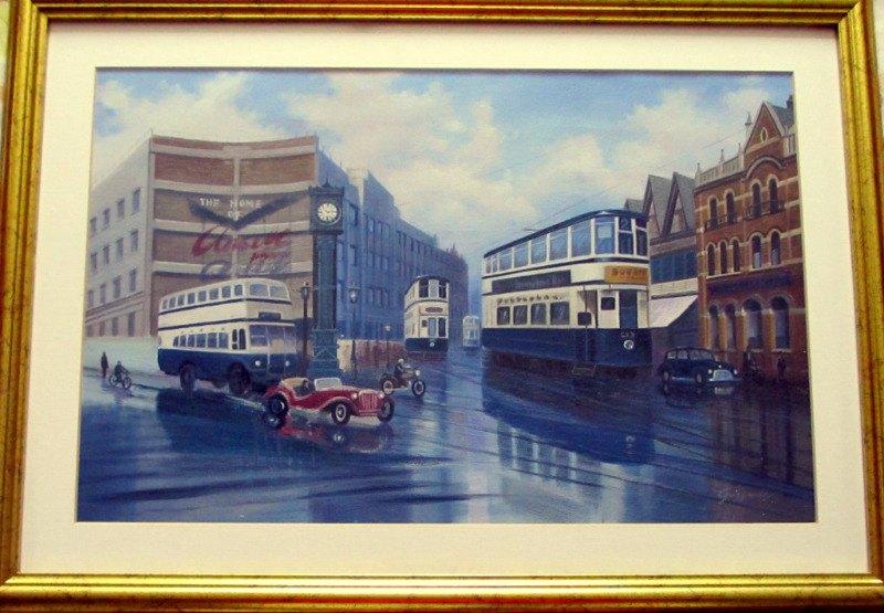 Aston Cross, Birmingham, c1950, oil on canvas, signed Guzzardi. c1975.