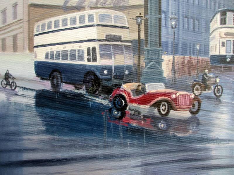 Aston Cross, Birmingham, c1950, oil on canvas, signed Guzzardi. c1975. Detail.