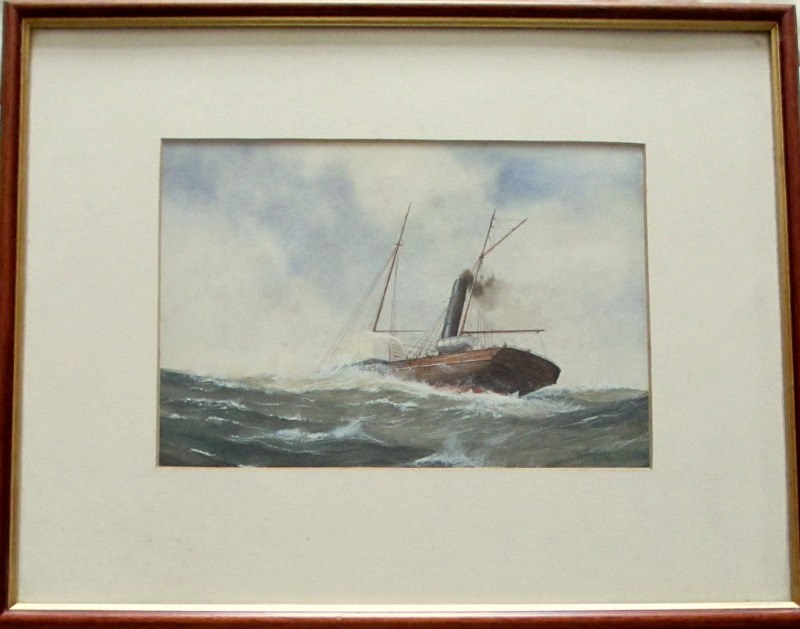 Paddle Steamer in Medium Sea, watercolour and gouache, signed R.P. Milliken, c1975. Inscribed verso.