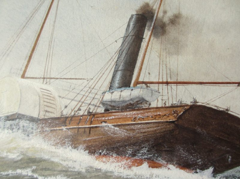 Paddle Steamer in Medium Sea, watercolour and gouache, signed R.P. Milliken, c1975. Inscribed verso. Detail.