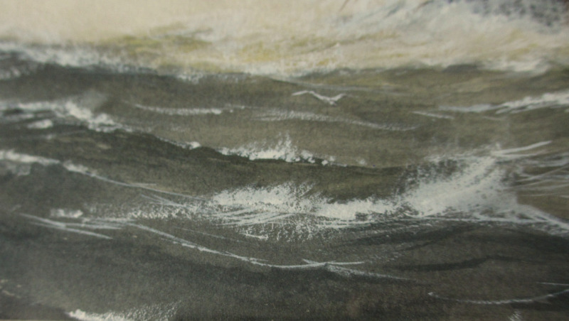 Paddle Steamer in Medium Sea, watercolour and gouache, signed R.P. Milliken, c1975. Inscribed verso. Detail of sea.