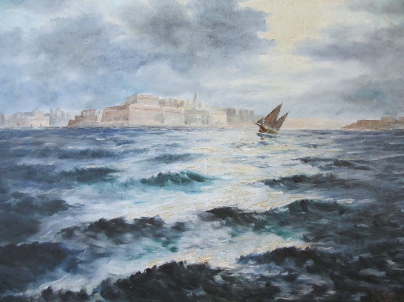 Valletta Harbour in Moonlight, oil on canvas, signed Jos. Galea Malta 70. 1970. Detail.