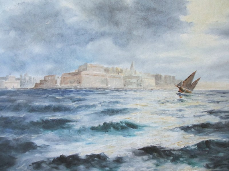 Valletta Harbour in Moonlight, oil on canvas, signed Jos. Galea Malta 70. 1970. Detail.