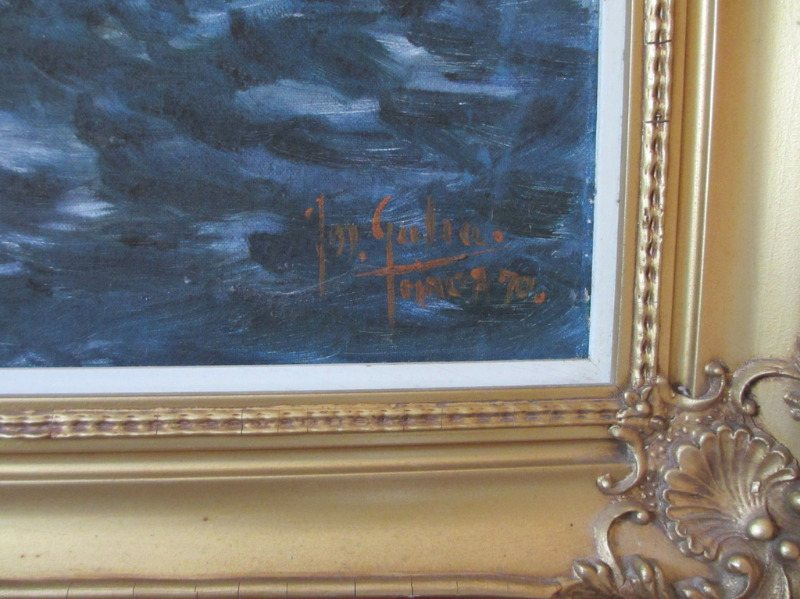 Valletta Harbour in Moonlight, oil on canvas, signed Jos. Galea Malta 70. 1970. Detail. Signature and date.