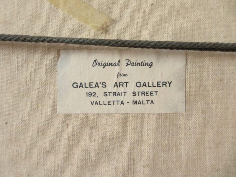 Valletta Harbour in Moonlight, oil on canvas, signed Jos. Galea Malta 70. 1970. Detail. Frame, verso, label.