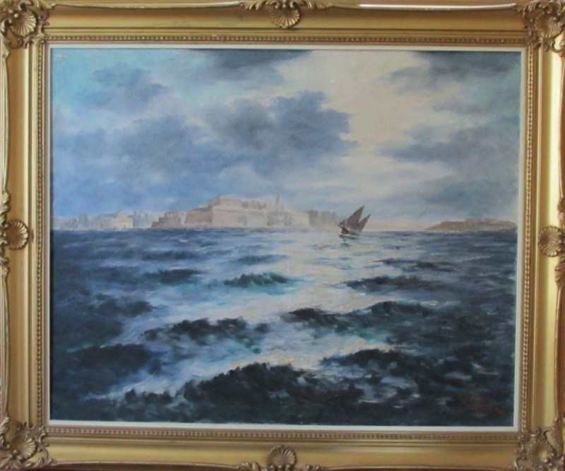 Valletta Harbour in Moonlight, oil on canvas, signed Jos. Galea Malta 70. 1970.