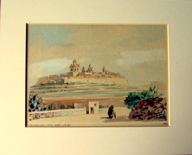 Mdina, the Old City, with Figures, watercolour, signed  Jos. Galea 1965.
