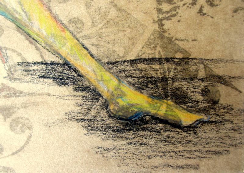 Shame, mixed media - woodblock print, pastel and graphite - on paper, unsigned. c2000. Detail.