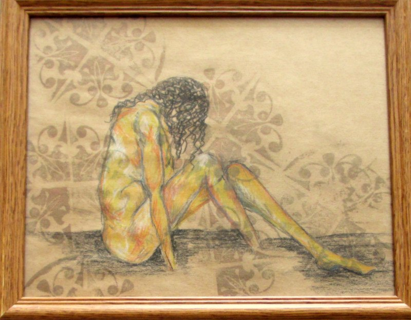 Shame, mixed media - woodblock print, pastel and graphite - on paper, unsigned. c2000.