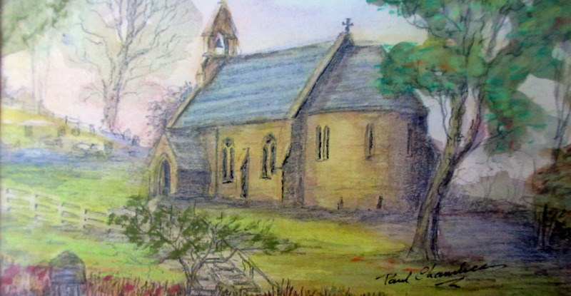 Holy Trinity Church, Bulcote, Nottinghamshire, mixed media (watercolour, pastel and graphite) on paper, signed Paul Chambers. c1980. Details.