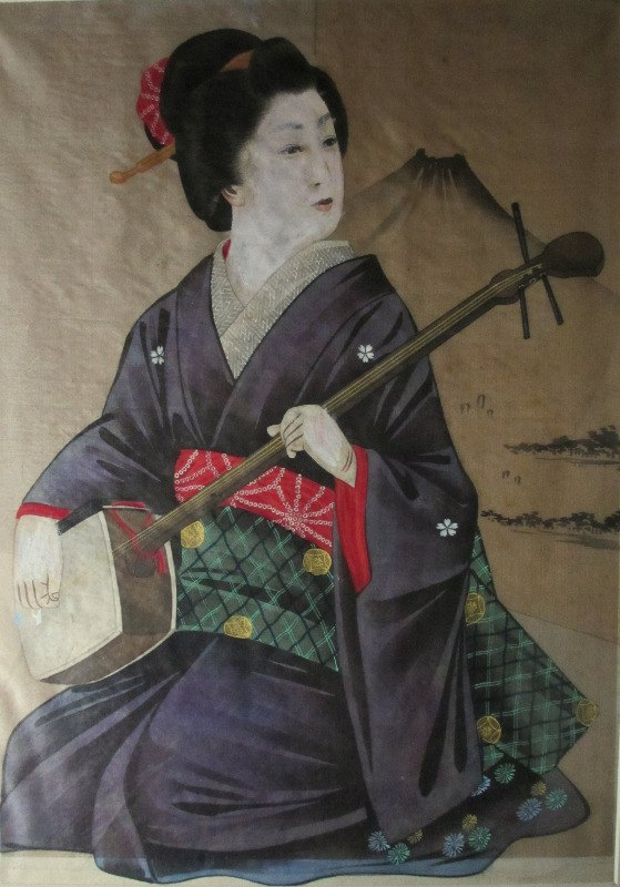 Geisha with Fujiyama, watercolour and gouache on silk. c1960. Framed and glazed.