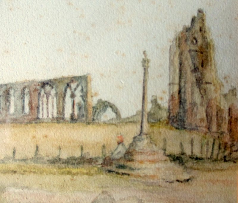 Whitby Abbey, watercolour on paper, signed initials GW and titled. c1850. Detail.
