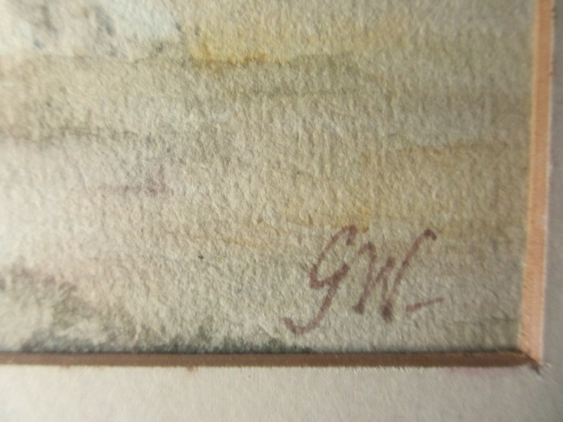 Whitby Abbey, watercolour on paper, signed initials GW and titled. c1850. Detail. Signature initials.