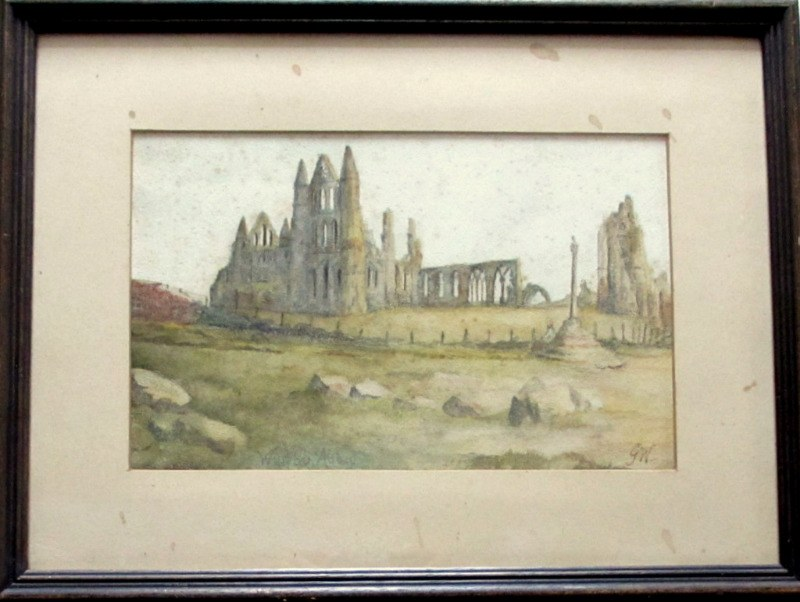 Whitby Abbey, watercolour on paper, signed initials GW and titled. c1850.