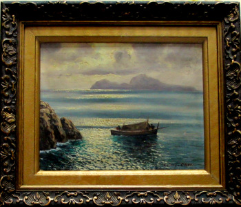 Capri Viewed from Sorrento Peninsula, oil on canvas, titled Capri and signed Costanzi. c1920.