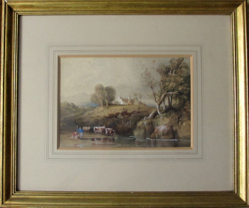 Highland Scene with Cattle Drinking from River with Two Herdsmen, watercolour, signed W.L. Leitch, c1860. Framed and glazed.  SOLD  18.12.2015.