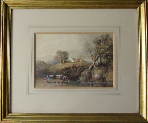 Highland Scene with Cattle Drinking from River with Two Herdsmen, watercolo
