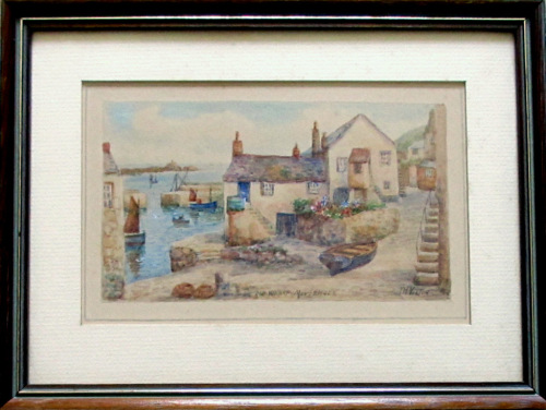 Old Wharf Mousehole with St. Michael's Mount, watercolour, signed T.H. Vict