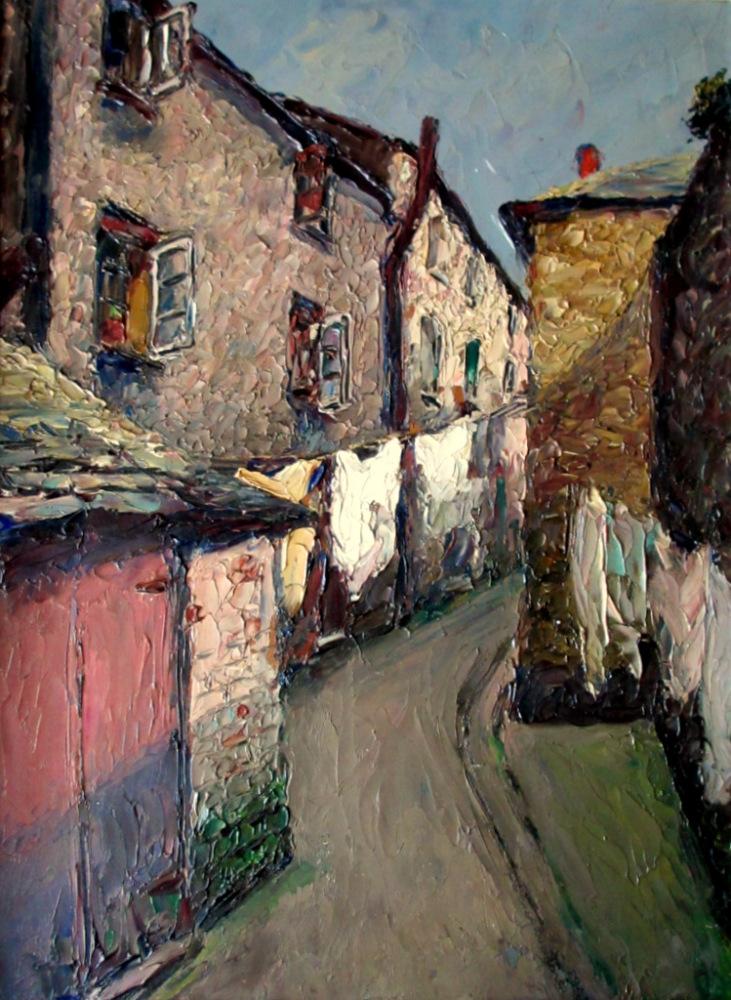 Impressionist study of Bay Street, East Looe, oil on board, signed P Sansal