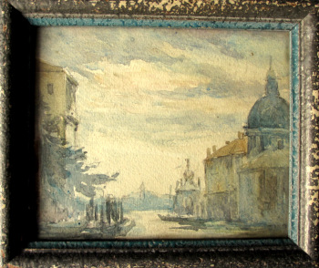 Venice Scene, watercolour on paper, unsigned, Godwin Bennett label verso. c1920.