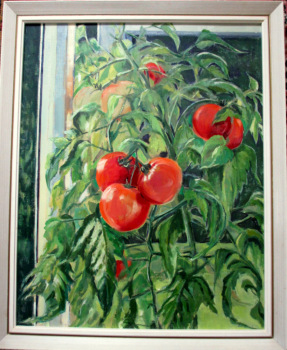 Tomato Summer, oil on board, signed Jean Clark, c1969. Framed; titled verso.