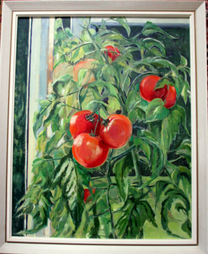 Tomato Summer, oil on board, signed Jean Clark, c1969. Framed; titled verso