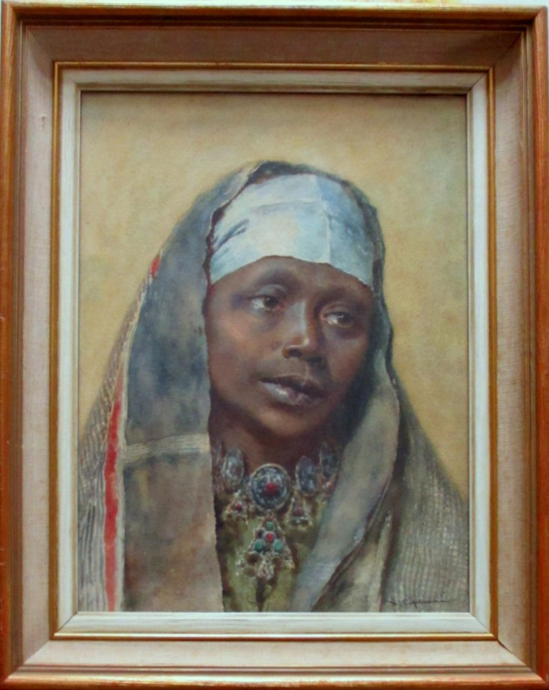 Portrait of an Arab Woman, watercolour, signed N. Cipriani, c1890.