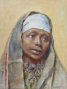 Portrait of a North African Woman, watercolour, signed N. Cipriani, c1890.