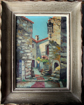 Street Scene, Eze Village, France, oil on canvas, signed M. Juenin. c1960.   SOLD  24.11.2014.