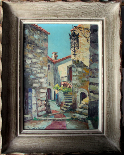 Street Scene, Eze Village, France, oil on canvas, signed M. Juezin. c1960.