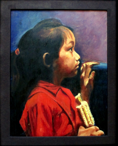 Profile Portrait Asian Girl Eating Corn, oil on board, attributed to  A.W.