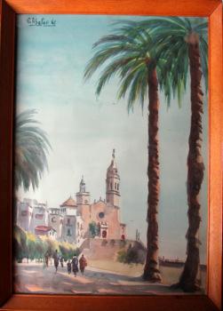 Iglesia de Sant Bartomen i Santa Tecla, Sitges, Spain, watercolour, signed G. Abalos 61. 1961.  SOLD 10.09.2015.