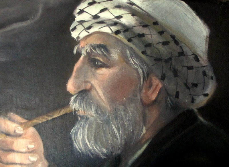 A Quiet Smoke, oil on khadi, signed Hashim 89. 1989. Afghan.