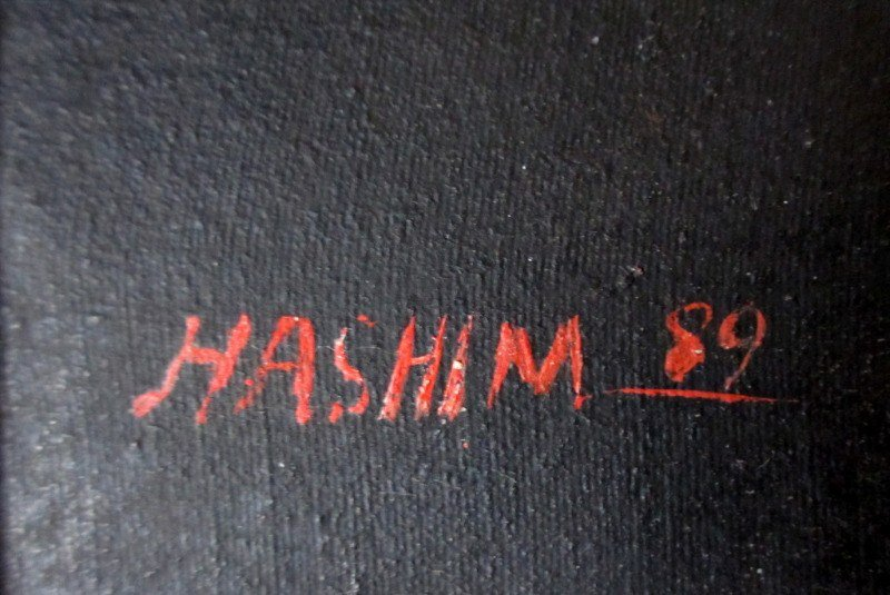 A Quiet Smoke, oil on khadi, signed Hashim 89. 1989. Afghan. Detail.