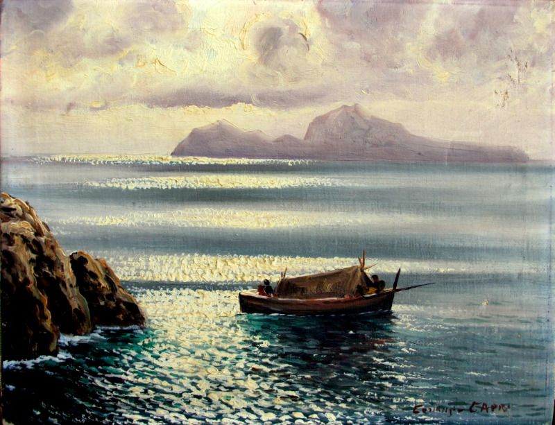 Capri Viewed from Sorrento Peninsula at Dusk with Fishing Boat, oil on canvas, signed Costanzi Capri. c1920.