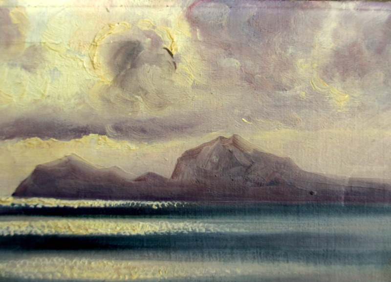 Capri Viewed from Sorrento Peninsula at Dusk with Fishing Boat, oil on canvas, signed Costanzi Capri. c1920. Detail.
