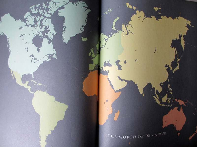 The World of De La Rue 1963. Double-page map of the World.
