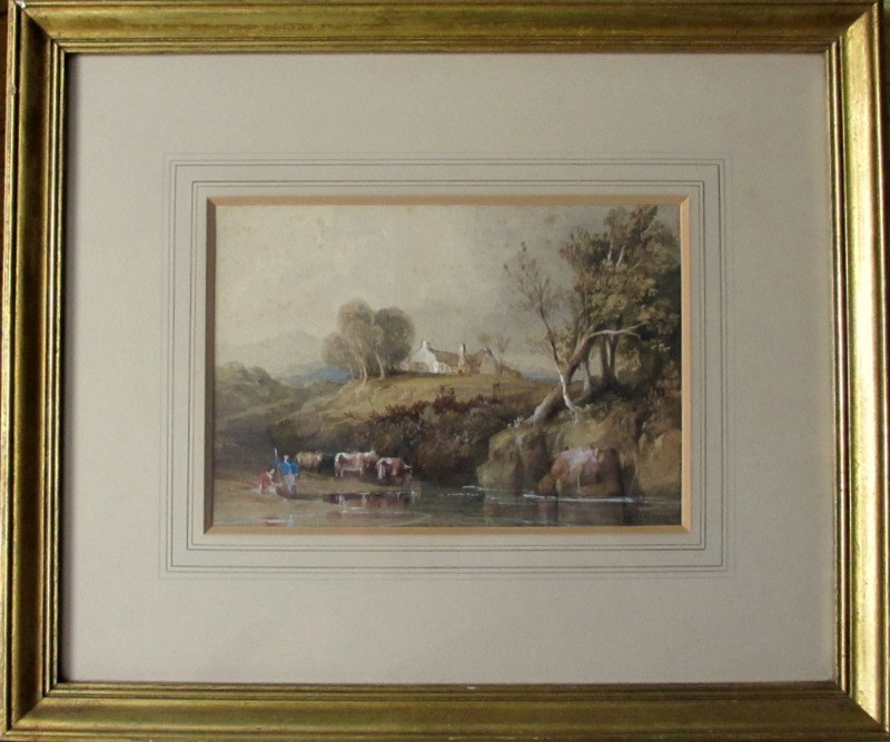 Highland Scene with Cattle Drinking, watercolour, signed W.L. Leitch, c1860.
