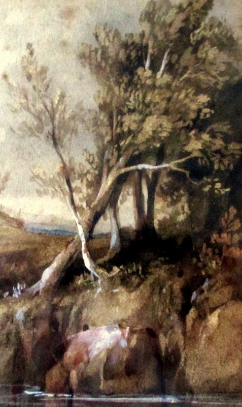 Highland Scene with Cattle Drinking, watercolour, signed W.L. Leitch, c1860. Detail.