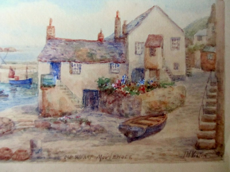 Old Wharf, Mousehole, watercolour, signed TH Victor, c1950. Detail.