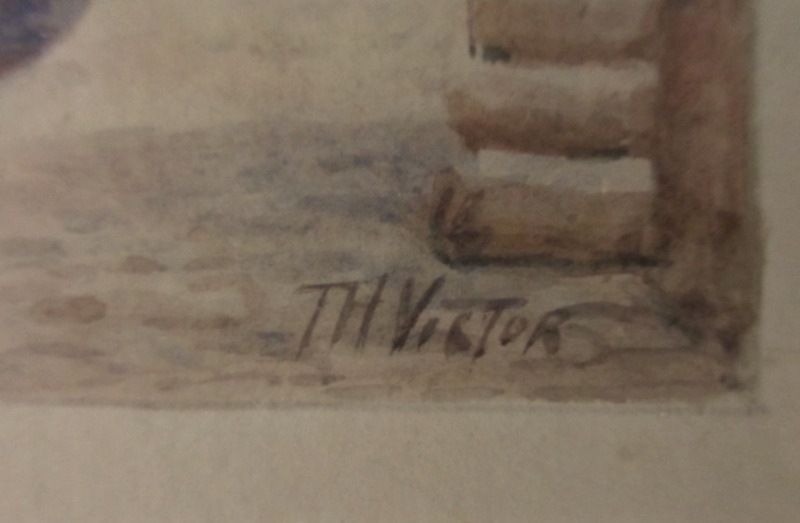 Old Wharf, Mousehole, watercolour, signed TH Victor, c1950. Detail. Signature.