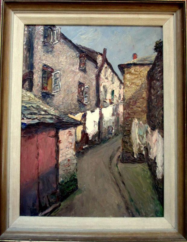 Impressionist impasto study of Bay Street East Looe, Cornwall, oil on board, signed R Sansalvatore 1947.