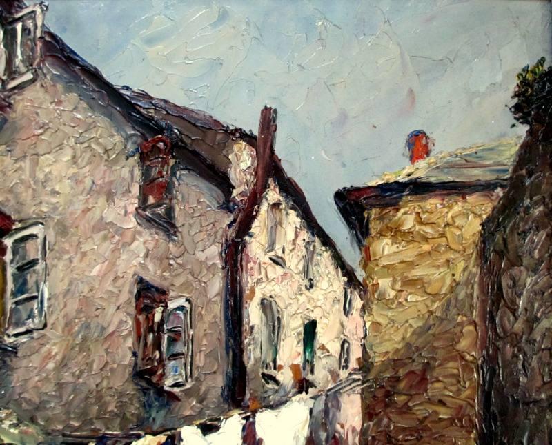 Impressionist impasto study of Bay Street East Looe, Cornwall, oil on board, signed R Sansalvatore 1947. Detail.